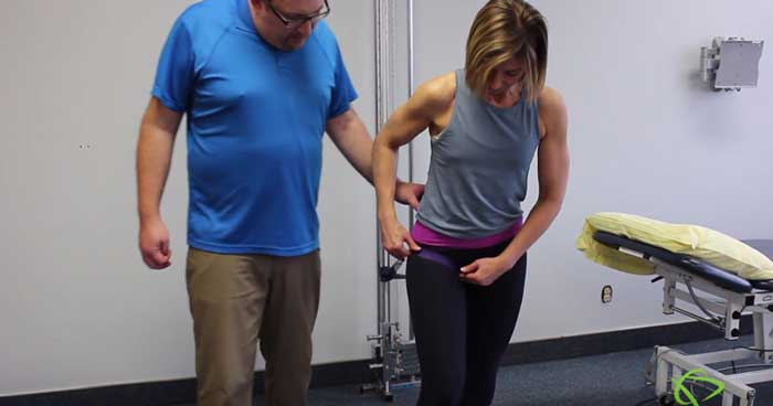 Pleasantview Physiotherapy Physiotherapist explains how to do Hip Mobilization with band Exercises